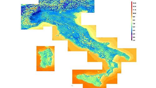 Mappa dell'Atlante eolico italiano