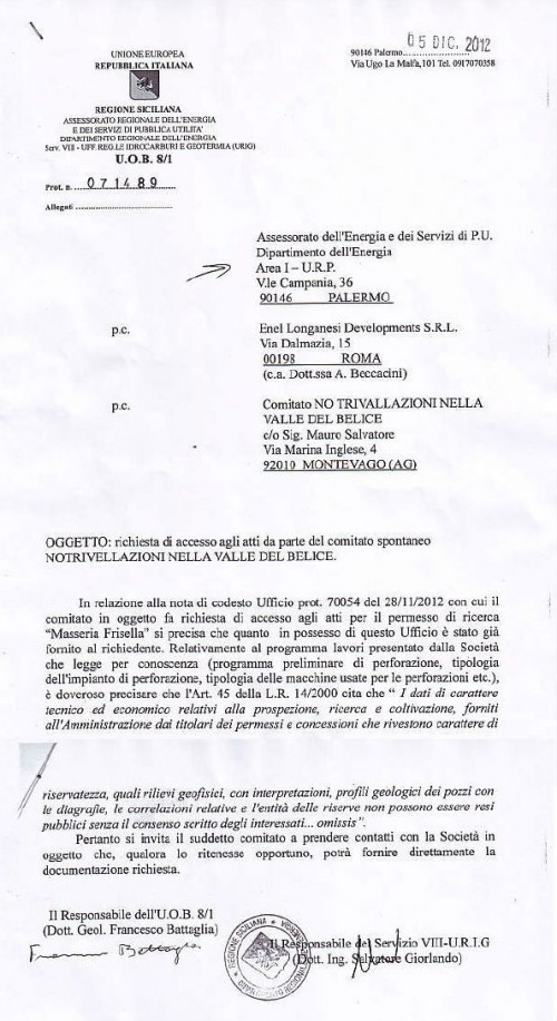 Masseria Frisella risposta URIG Comitato No triv Valle del Belice
