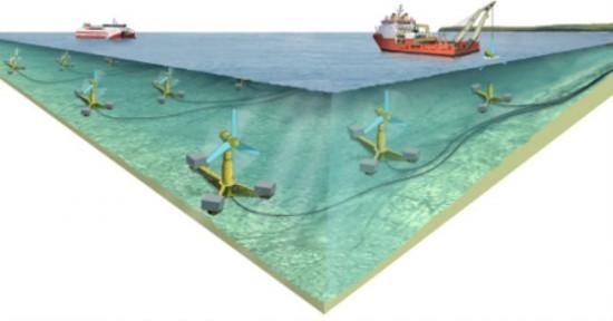 Impianto subacqueo per lo sfruttamento delle maree