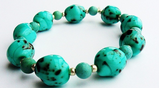 Turquoise Stone and Glass Bracelet