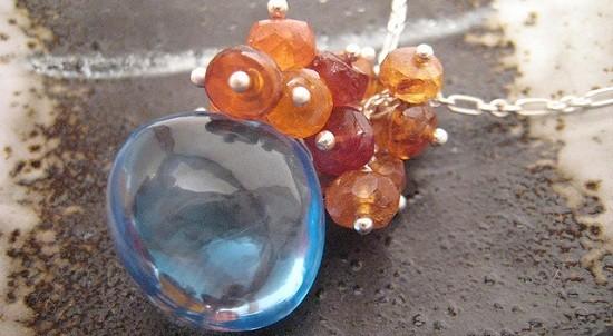 Bluebird necklace - Swiss blue topaz and zircon