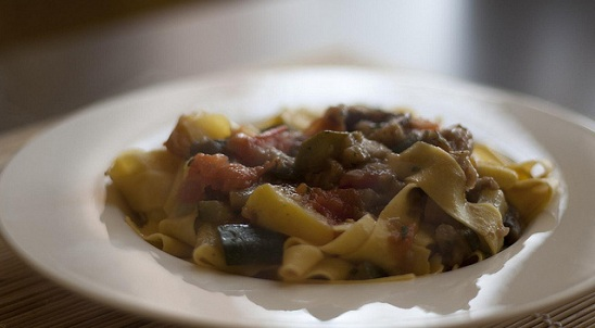 Pappardelle with vegetarian ragout