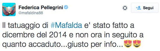 Federica Pellegrini via TwitterFederica Pellegrini via Twitter