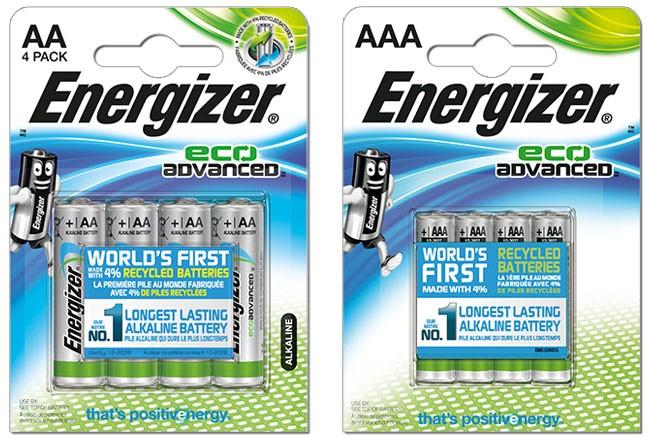 Le nuove pile Energizer EcoAdvanced, nei formati AA e AAA
