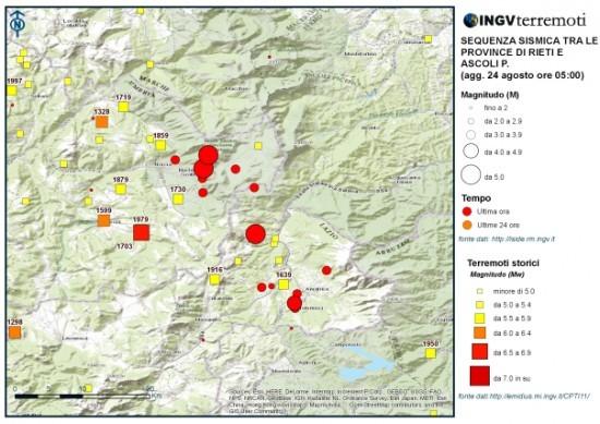 Storico terremoti INGV area reatina