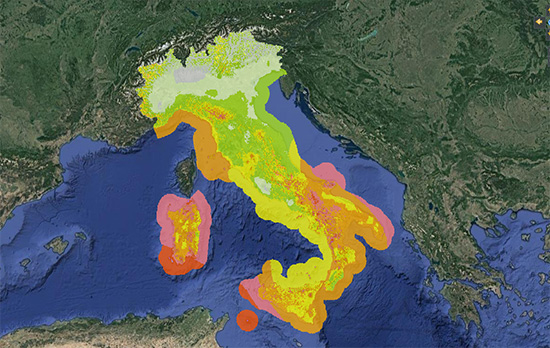 La mappa del vento in Italia