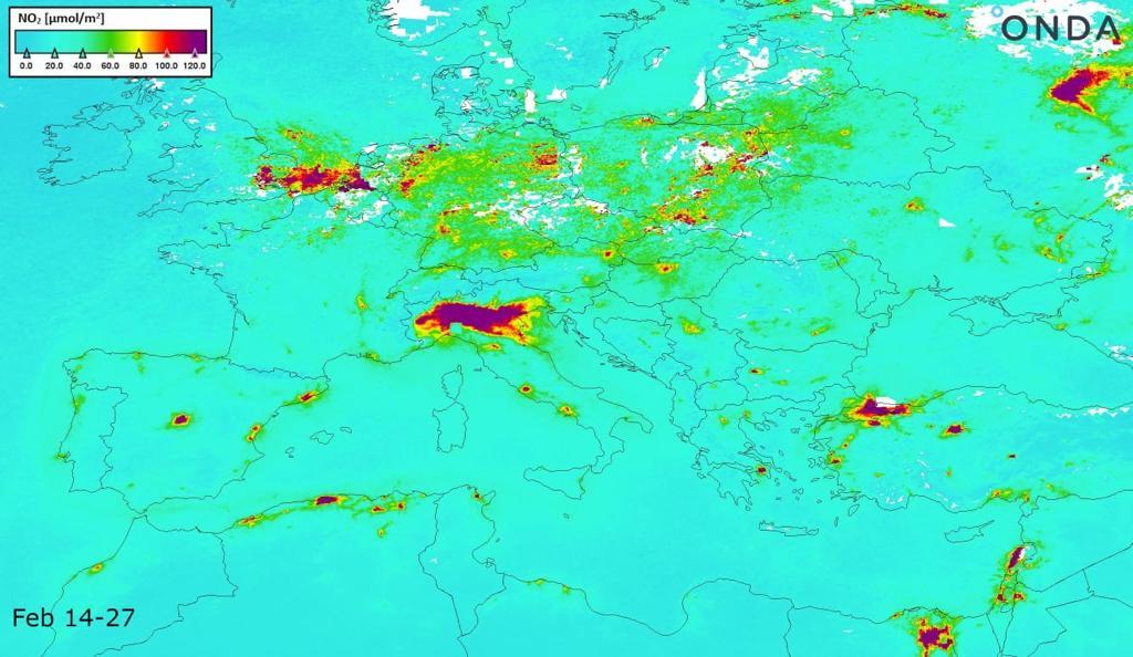 Mappa inquinamento Europa prima del lockdown