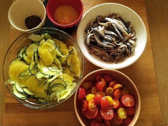 Tortino alici, zucchine e patate: ingredienti